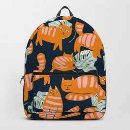 Whimsicat, Whimsical Quirky Pet Cat Illustration, Garfield Tropical Eclectic Monstera Fun Animal Backpack