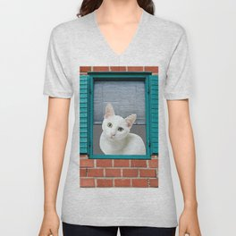 White Cat in Turquoise Window - Brick wall #society6 #buyart Unisex V-Neck