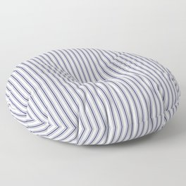 Classic Narrow Midnight Blue mattress Ticking Stripes on White Floor Pillow
