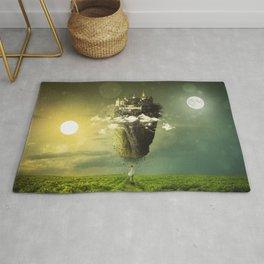 Fascinating Beautiful Levitating Flying Fantasy Castle Island Sun Moon Meadow Ultra HD Rug