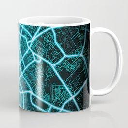 Minsk, Belarus, Blue, White, Neon, Glow, City, Map Coffee Mug