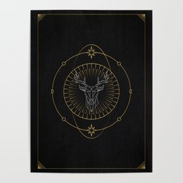 Tarot geometric #8: Deer Poster