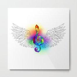 Rainbow Treble Clef with Wings Metal Print
