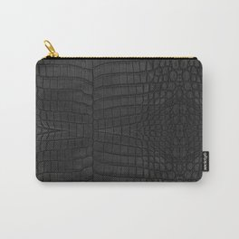 Black Crocodile Leather Print Tasche