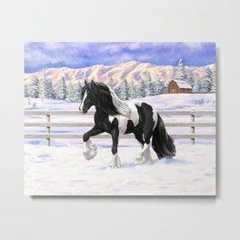 Black & White Pinto Gypsy Vanner Draft Horse In Snow Metal Print