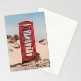 Red telephone box on a deserted beach Stationery Cards