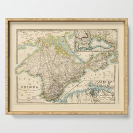 The Crimea (Ukraine) Sevastopol Region Map circa 1855 Serving Tray