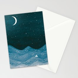 ornament ocean, moon & boat Stationery Cards