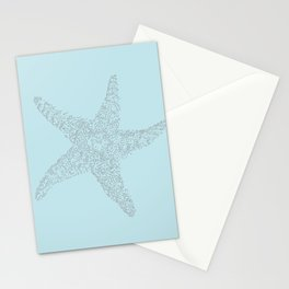 Starfish Bliss Black on Light Teal - Digital Art  Stationery Cards
