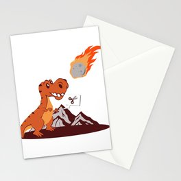 Rock Paper Meteor Dinosaur Fan Gift Stationery Cards