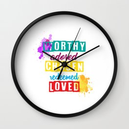 Worthy adored chosen redeemed loved english lover new colourfull Wall Clock
