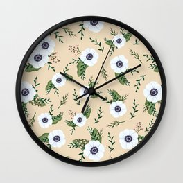 Yellow Anemones Floral Pattern Illustration Wall Clock