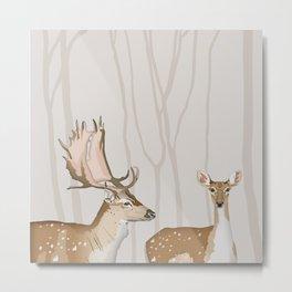Mr & Mrs Fallow Deer Metal Print