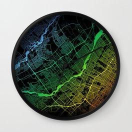Laval, QC, Canada, City, Map, Rainbow, Map, Art, Print Wall Clock