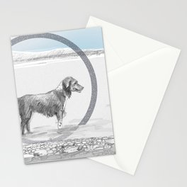 dog wading in fjord Stationery Cards