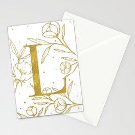 Letter L Gold Monogram / Initial Botanical Illustration Stationery Cards