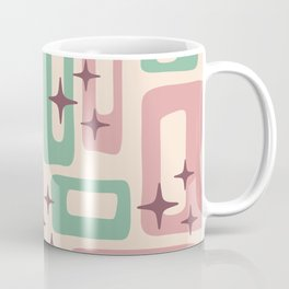 Retro Mid Century Modern Abstract Pattern 222 Dusty Rose and Pastel Green Coffee Mug
