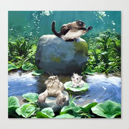 Bath time in the pond! Canvas Print