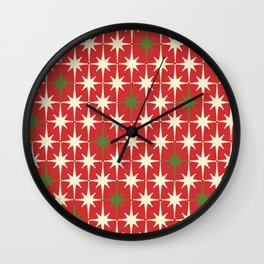 Atomic Age Christmas Starbursts - Midcentury Modern Xmas Holiday Pattern Cream Green Red Wall Clock