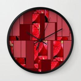 Mottled Red Poinsettia 2 Art Rectangles 8 Wall Clock