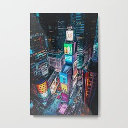 Times Square New York City Neon Lights Nighttime Landscape Painting by Jeanpaul Ferro Metal Print