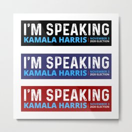 Mr. Vice President I'm Speaking , Kamala Harris , Kamala , Biden Harris , Vote 2020, Vote Biden, Biden Mask Sticker Metal Print