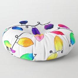 Colorful Christmas Holiday Light Bulbs Floor Pillow