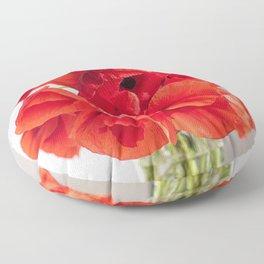 Blooming Red Poppy Flowers Floor Pillow