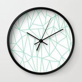 Geometric Cobweb (Mint & White Pattern) Wall Clock