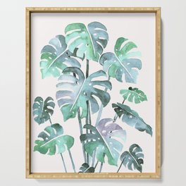 Delicate Monstera Blue And Green #society6 Serving Tray