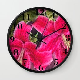 Pink Lilies Wall Clock
