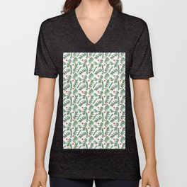 Pine Tree Branches with Red Christmas Berries Unisex V-Neck