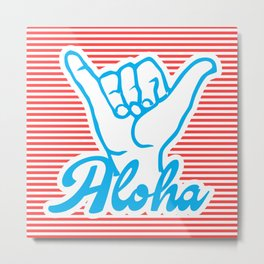 Aloha, Shaka Hand, red version, summer poster Metal Print