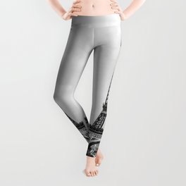 Eiffel tower in B&W with painterly effect Leggings