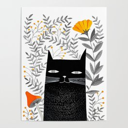 black cat with botanical illustration Poster