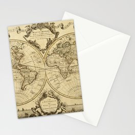 1720 Old World Map Historic Map Antique Style World Map Guillaume de L'Isle mappe monde Wall Map Stationery Cards