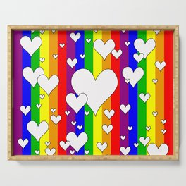 Gay flag with the colors of the rainbow with hearts Serving Tray