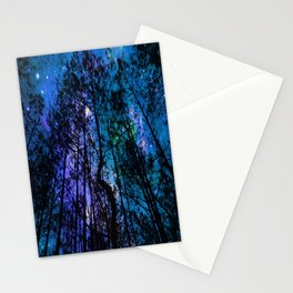 Black Trees Teal Purple Space Stationery Cards