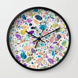 Terrazzo - Mosaic - Gemstones and Gold Wall Clock