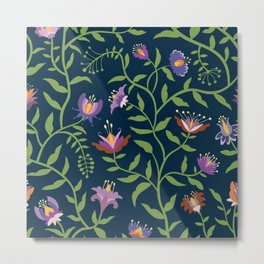 Folk Art Flowers Climbing Vines in Fall Colors Metal Print