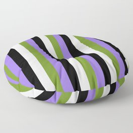 Purple, Green, Lavender & Black Colored Lined/Striped Pattern Floor Pillow