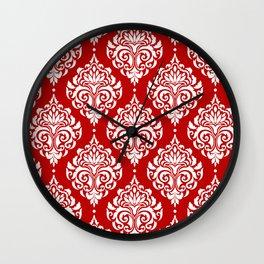 Red Damask Wall Clock