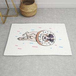 Iggy Dog Wearing a Dougnut - Italian Greyhound Dessert - White Donut with Sprinkles Whippet Rug