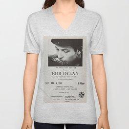 Vintage 1961 Bob Dylan Carnegie Hall Folk Festival Concert Gig Poster Unisex V-Neck