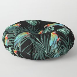Parrots in the Tropical Jungle Night #2 #tropical #decor #art #society6 Floor Pillow
