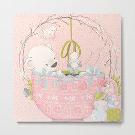 Teddy Bears Picnic (Pink) Metal Print