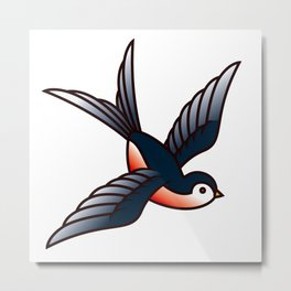 Vintage Tattoo Style Swallow Metal Print