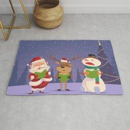 Santa Claus Snowman Deer  Rug