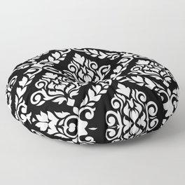 Prima Damask Pattern White on Black Floor Pillow