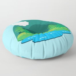 Camping Adventure Vector Landscape Floor Pillow